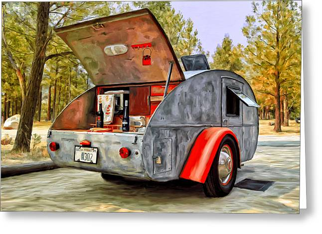 Teardrop Greeting Cards - Time for Camping Greeting Card by Michael Pickett
