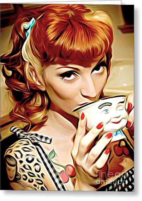Coffee Drinking Digital Art Greeting Cards - Time for Joe Greeting Card by Larry Espinoza