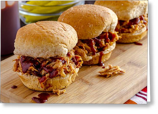 Pulled Pork Barbecue Greeting Cards - Time for Sliders Greeting Card by Teri Virbickis