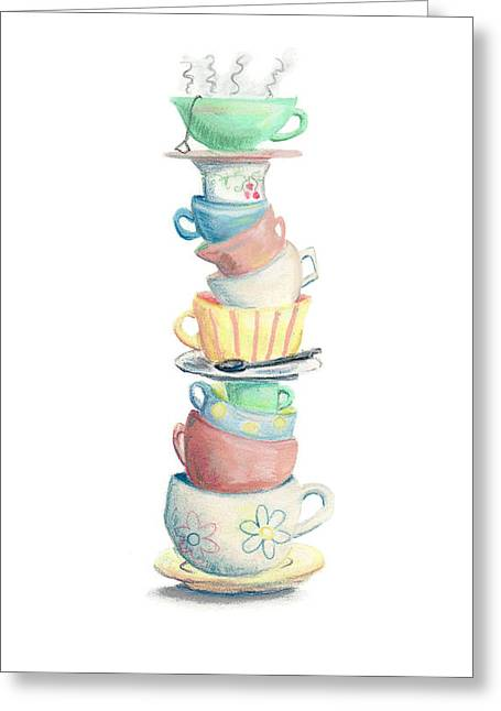 Stack Pastels Greeting Cards - Time For Tea Greeting Card by Athena Lutton