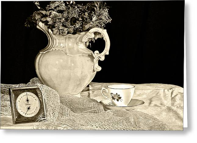 Old Pitcher Greeting Cards - Time for Tea Greeting Card by Camille Lopez