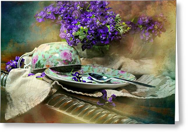 Table Cloth Greeting Cards - Time For Tea Greeting Card by Diana Angstadt
