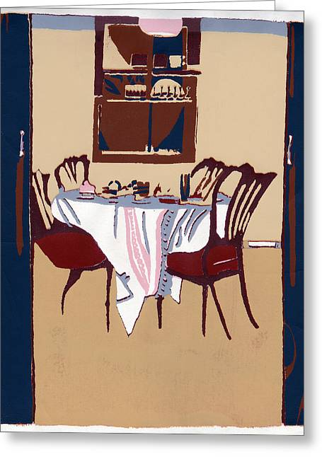 Table And Chairs Mixed Media Greeting Cards - Time For Tea Greeting Card by Shayne Cooper