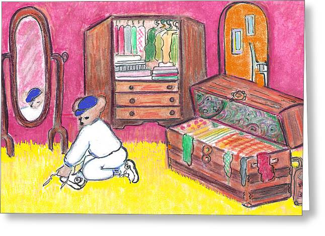Sweat Mixed Media Greeting Cards - Time For Teddys Workout Greeting Card by Barbara LeMaster