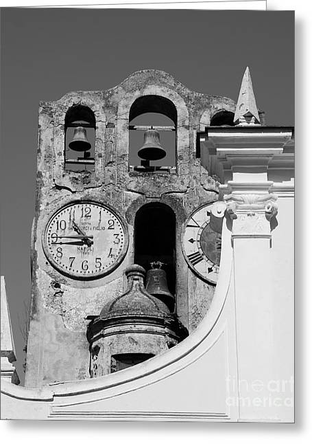 Scenes Of Italy Greeting Cards - Time For The Bells bw Greeting Card by Mel Steinhauer