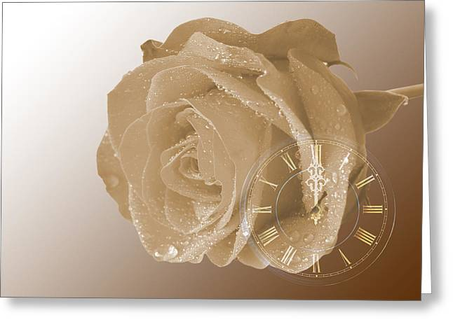 Water Drops On Rose Greeting Cards - Time For Vintage Romance Greeting Card by Gill Billington