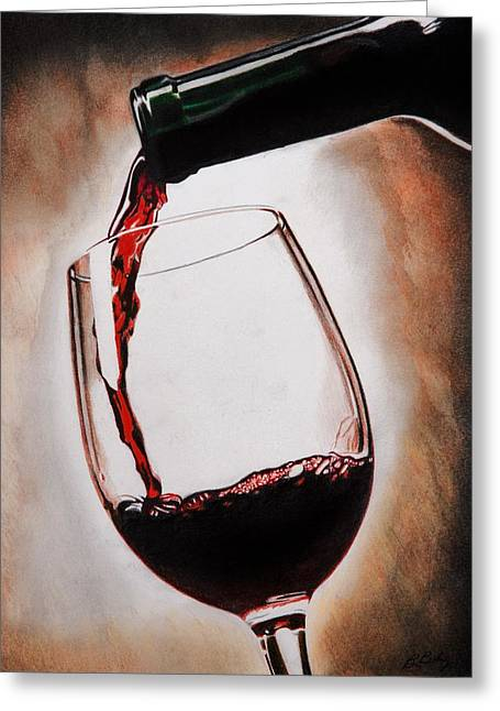 Wine-glass Drawings Greeting Cards - Time for Wine Greeting Card by Brian Broadway