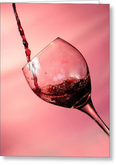 Red Wine Splash Greeting Cards - Time for Wine  Greeting Card by Michael Ledray
