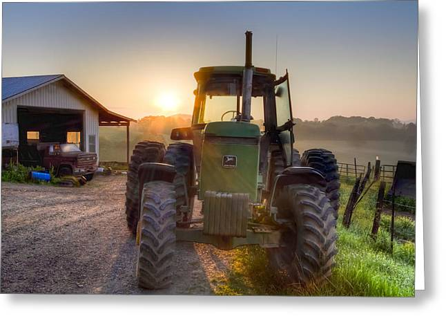 Tennessee Farm Greeting Cards - Time for Work Greeting Card by Debra and Dave Vanderlaan