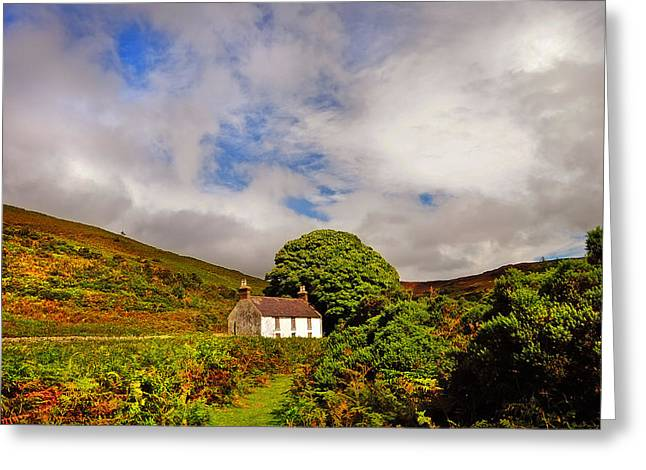 Abandoned Houses Greeting Cards - Time Goes By so Slowly. White Abandoned House in Wicklow Greeting Card by Jenny Rainbow