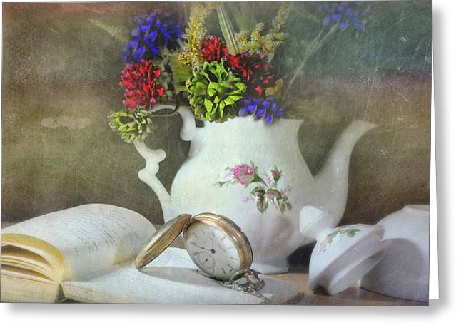 Still Life With Pitcher Greeting Cards - Time In a Pocket Greeting Card by Diana Angstadt