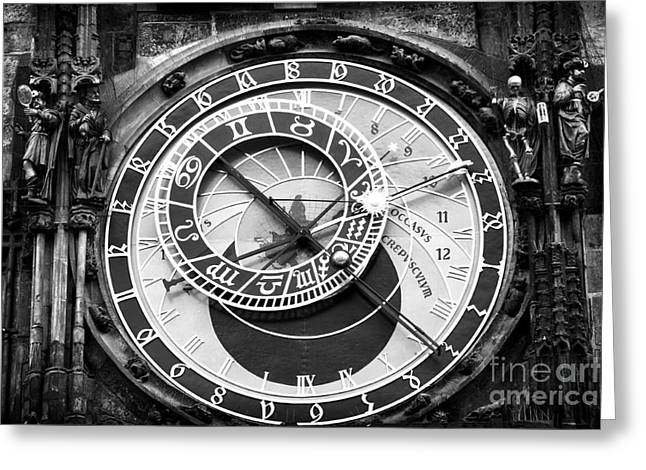 Astronomical Clock Greeting Cards - Time in Prague Greeting Card by John Rizzuto
