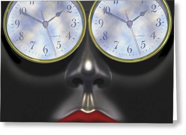 Lips Digital Greeting Cards - Time In Your Eyes - SQ Greeting Card by Mike McGlothlen