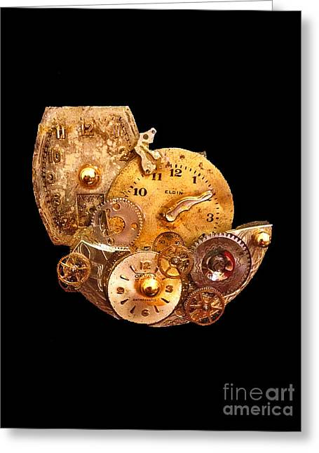 Watch Parts Greeting Cards - Time is All Around us Greeting Card by Elizabeth Hoskinson