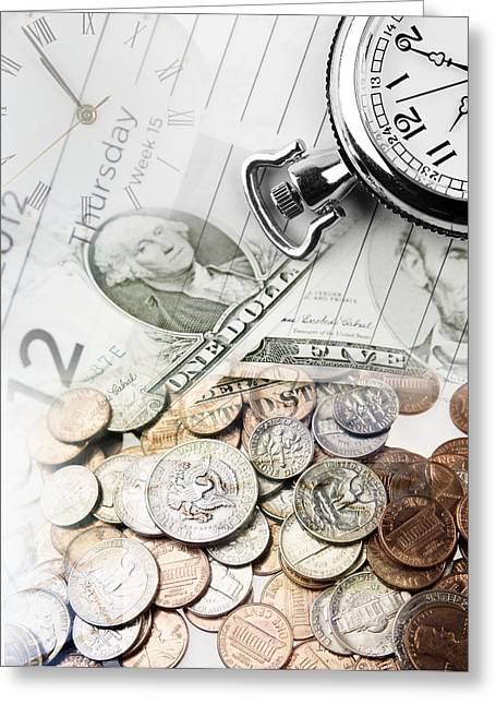 Banknotes Greeting Cards - Time is money concept Greeting Card by Les Cunliffe