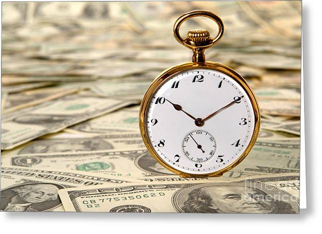 Banknotes Greeting Cards - Time is over Money Greeting Card by Olivier Le Queinec