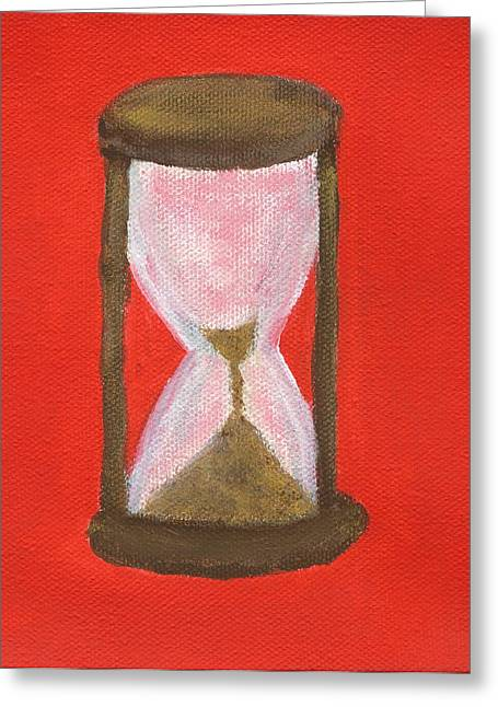 Red Hourglass Greeting Cards - Time Is Running Out Greeting Card by Cody Cookston