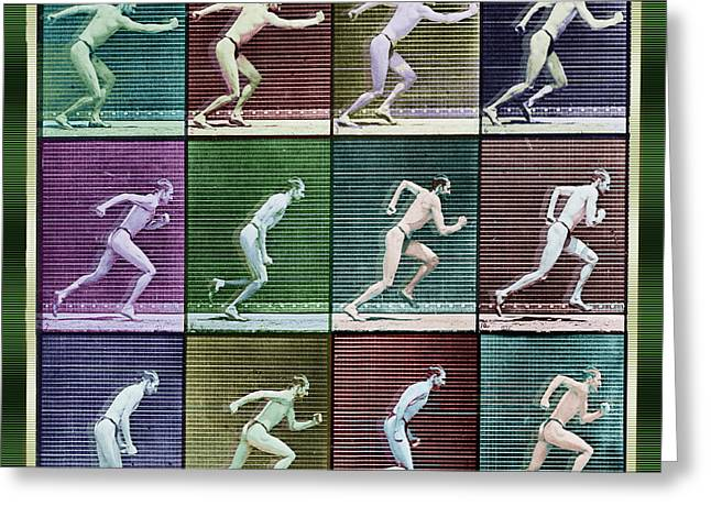 Nature Study Mixed Media Greeting Cards - Time Lapse Motion Study Man Running Color Greeting Card by Tony Rubino