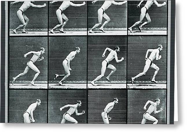 Nature Study Mixed Media Greeting Cards - Time Lapse Motion Study Man Running Monochrome Greeting Card by Tony Rubino