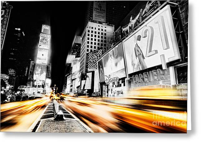 New York Night Greeting Cards - Time Lapse Square Greeting Card by Andrew Paranavitana