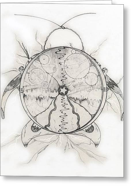 Cog Drawings Greeting Cards - Time Machine Greeting Card by Jason Girard