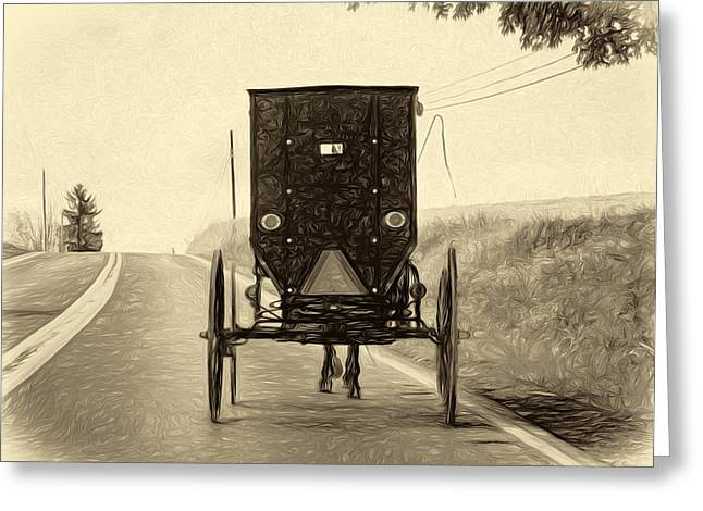 Rural Indiana Greeting Cards - Time Machine -  Paint sepia Greeting Card by Steve Harrington