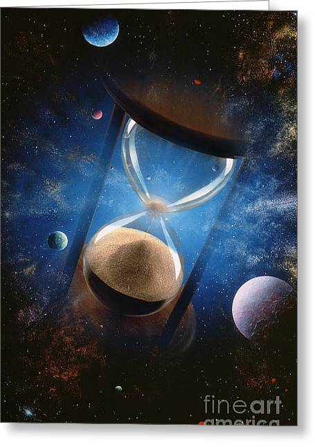 Sand Art Greeting Cards - Time Greeting Card by Mike Agliolo