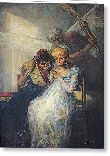 Two Women Greeting Cards - Time Of The Old Women, 1820 Oil On Canvas Greeting Card by Francisco Jose de Goya y Lucientes