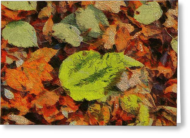 Red Leaves Mixed Media Greeting Cards - Time Of The Season Greeting Card by Dan Sproul