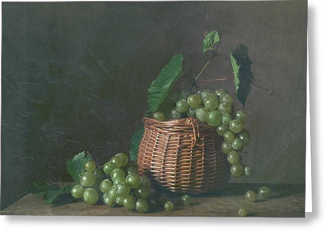 Still-life With A Basket Greeting Cards - Time of vine Greeting Card by Zoya Soroka