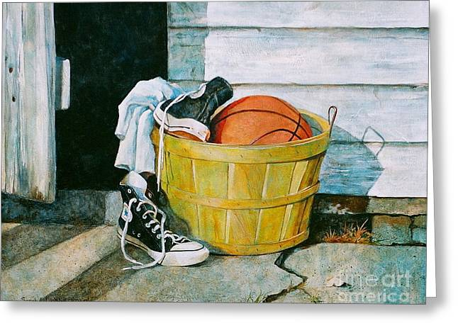Still-life With A Basket Greeting Cards - Time Out Greeting Card by Sarah Luginbill