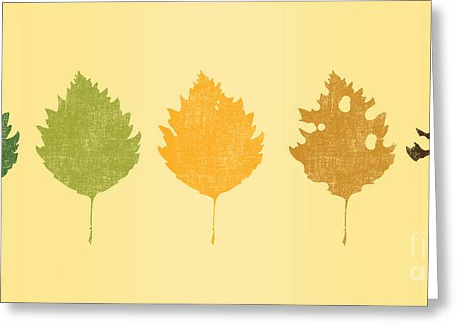 Green Leafs Greeting Cards - Time passes Greeting Card by Budi Kwan
