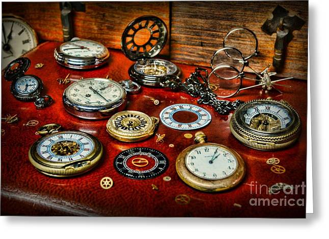 Mechanism Photographs Greeting Cards - Time - Pocket Watches  Greeting Card by Paul Ward