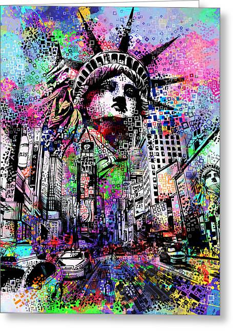 Urban Buildings Digital Greeting Cards - Times Square Greeting Card by MB Art factory