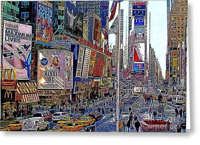 Time Square New York 20130430v2 Greeting Card by Wingsdomain Art and Photography