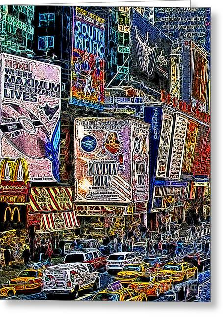 New York Newyork Digital Greeting Cards - Time Square New York 20130430v3 Greeting Card by Wingsdomain Art and Photography