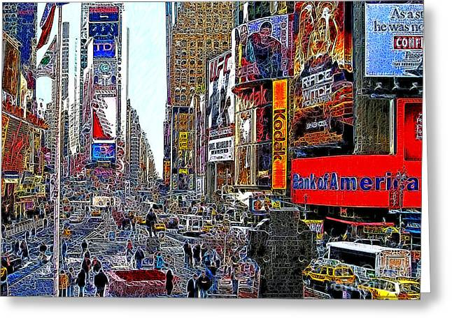 New York Newyork Digital Greeting Cards - Time Square New York 20130503v4 Greeting Card by Wingsdomain Art and Photography