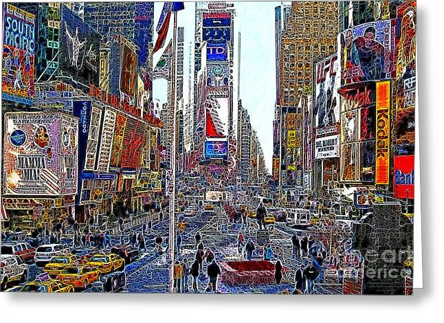 Times Square Digital Greeting Cards - Time Square New York 20130503v5 Greeting Card by Wingsdomain Art and Photography