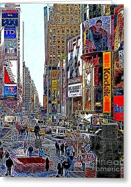 New York Newyork Digital Greeting Cards - Time Square New York 20130503v7 Greeting Card by Wingsdomain Art and Photography