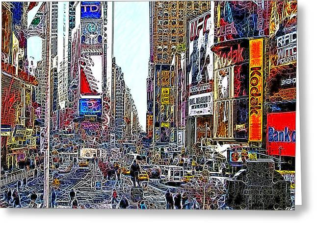 Time Square New York 20130503v8 square Greeting Card by Wingsdomain Art and Photography