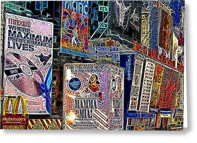Times Square Digital Greeting Cards - Time Square New York 20130503v9 square Greeting Card by Wingsdomain Art and Photography