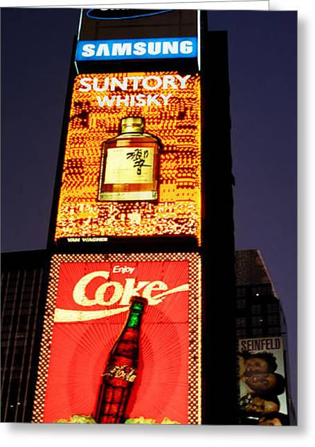 Broadway St Greeting Cards - Time Square Vertical Pano Greeting Card by Joann Vitali