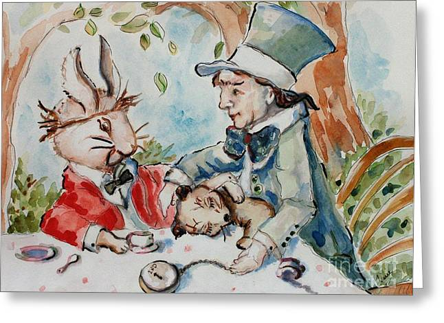 March Hare Greeting Cards - Time The Mad Tea Party 2 Greeting Card by Carrie Joy Byrnes