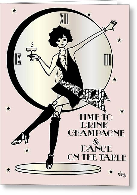 New Year Drawings Greeting Cards - Time to Drink Champagne and Dance on the Table 1920s Gatsby Flapper Girl pink Greeting Card by Cecely Bloom