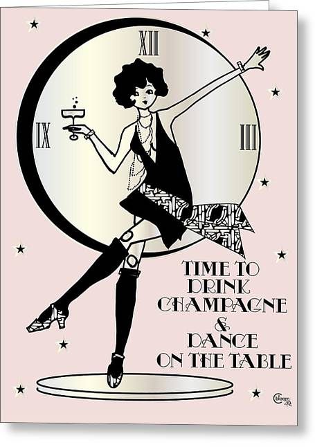 Bubbly Drawings Greeting Cards - Time to Drink Champagne and Dance on the Table 1920s Gatsby Flapper Girl pink Greeting Card by Cecely Bloom