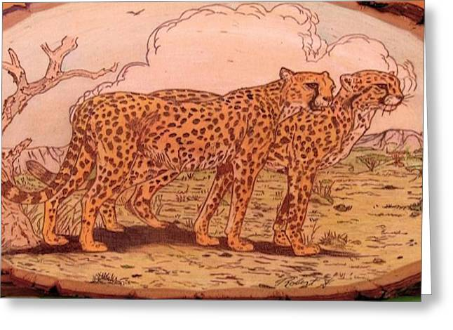 Hunting Pyrography Greeting Cards - Time To Eat Greeting Card by Rj Schiller