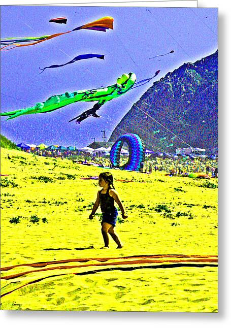 Half Moon Bay Greeting Cards - Time to Fly My Kite Greeting Card by Joseph Coulombe