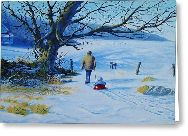 Sled.fence Greeting Cards - Time To Go Home  Greeting Card by Tom Hoy
