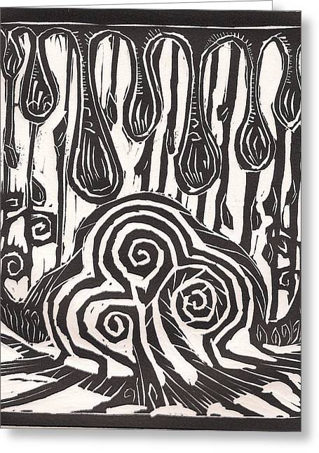 Linocut Drawings Greeting Cards - TIme to grow Greeting Card by Stephen Wiggins