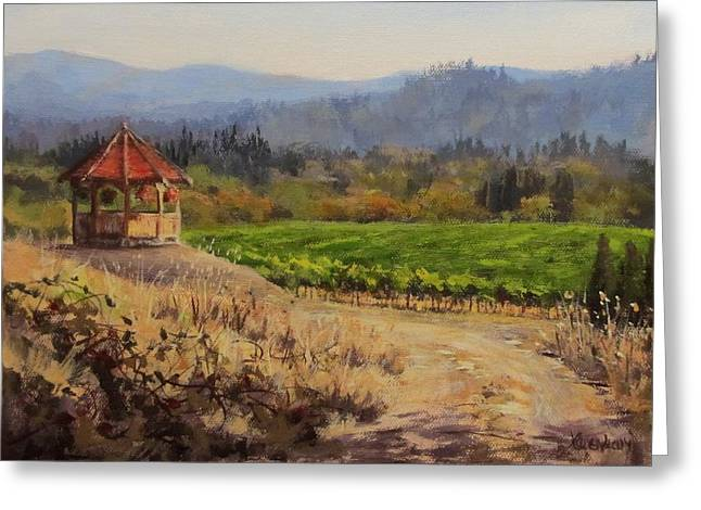 Viticulture Paintings Greeting Cards - Time to Harvest Greeting Card by Karen Ilari